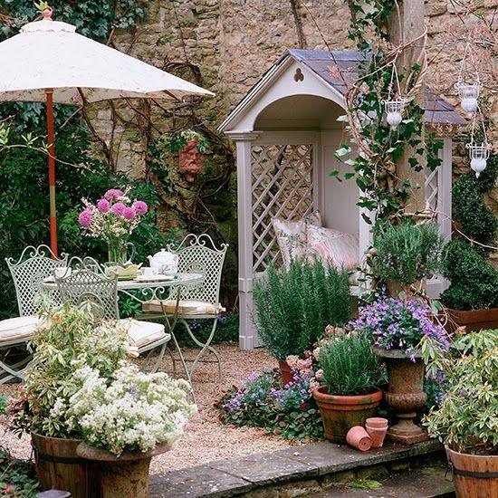 Vintage Garden Tea Time ガーデンハウス Pinterest Jardines - jardines en terrazas