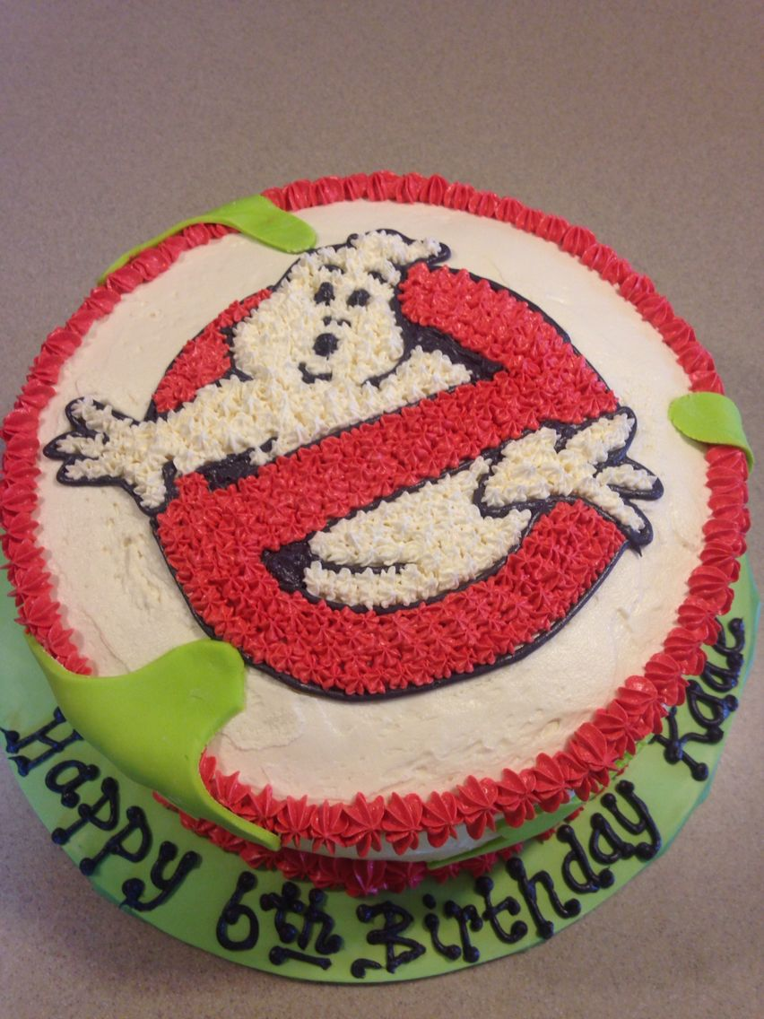 Ghostbusters Cake For A Young Boy I Used Buttercream To Ice And Star The  Symbol