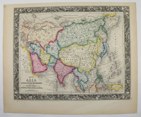 Original Antique Map of Asia 1860 Mitchell Map  Middle East Map     Antique Asia Map Vintage Map 1860 Mitchell Middle East Map China Map India  Map Gift for Home Historic Gift 1st Anniversary Gift Under 100 by