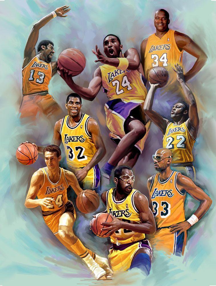 Laker Legends Los Angeles Laker Greats By Wishum Gregory Lakers Kobe Nba Basketball Art Lakers