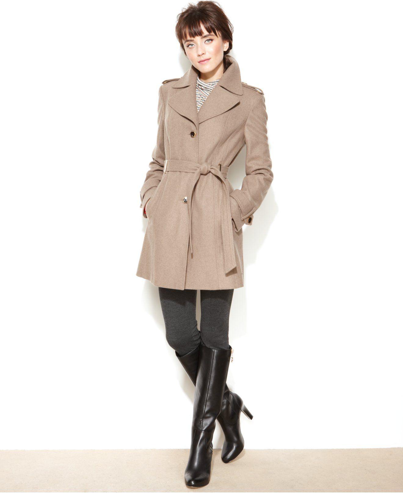 Calvin Klein Wool-Blend Belted Walker Coat - Coats - Women - Macy's