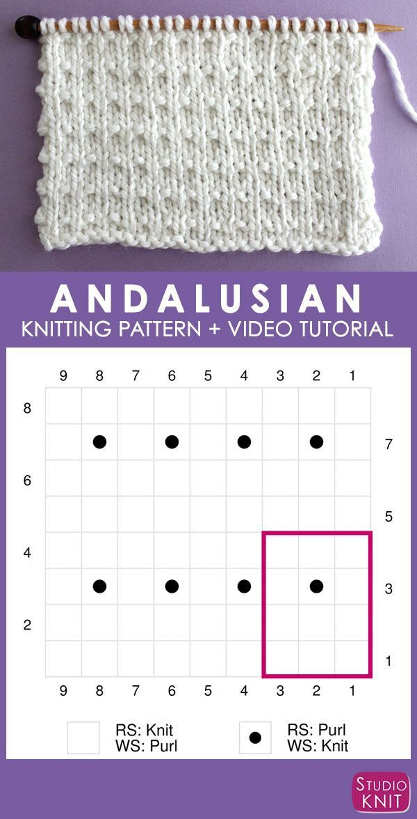 Andalusian Stitch Knitting Pattern for Beginners | Studio Knit