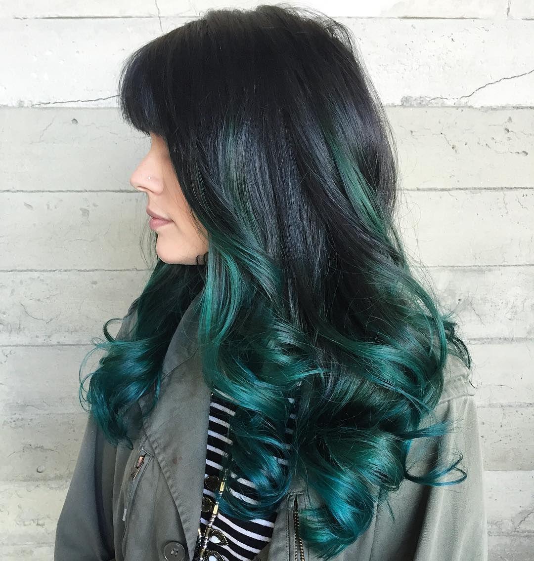 Black Hair With Blue And Teal Highlights Hair Highlights Blue Hair Highlights Brunette Hair Color