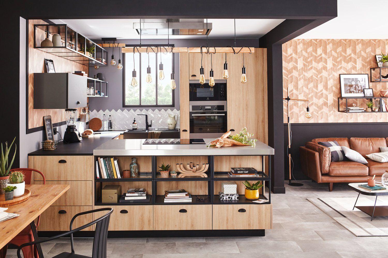 Une cuisine au style industriel  Meuble cuisine, Cuisine bois