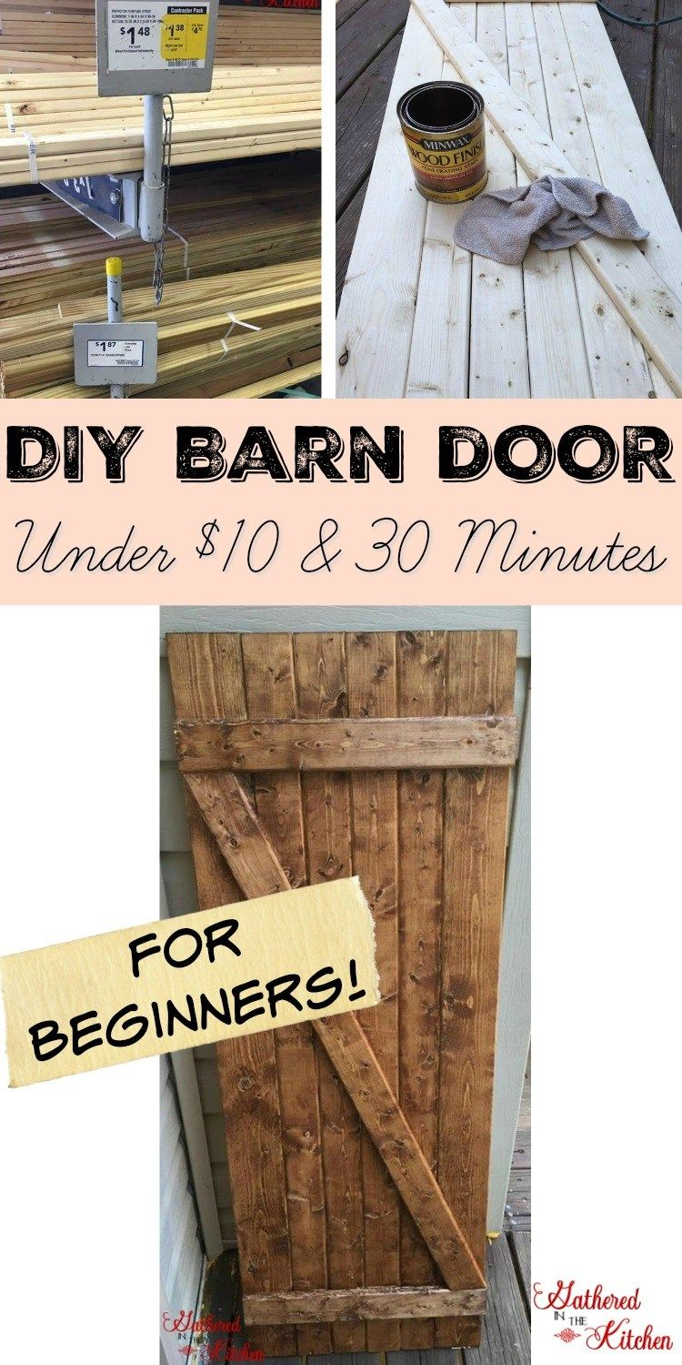 Diy Barn Door Under 10 In 30 Minutes Diy Barn Door Diy Door Family Room Walls