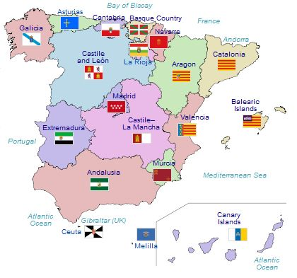 Clickable Interactive Spain Map Spain Info Advice Pinterest - Andorra clickable map