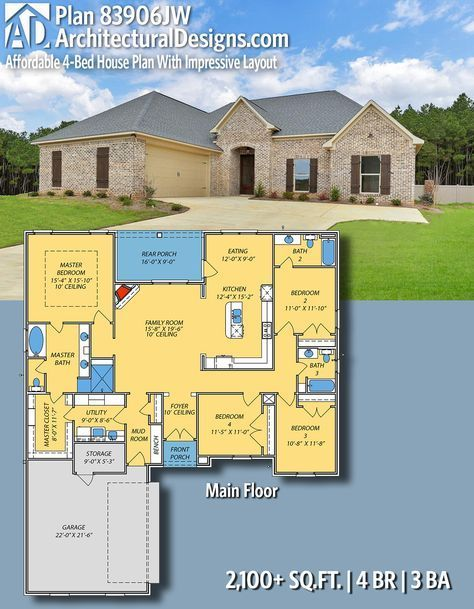 Plan 83906jw Affordable 4 Bed House Plan With Impressive Layout Architectural Design House Plans House Plans 4 Bedroom House Plans
