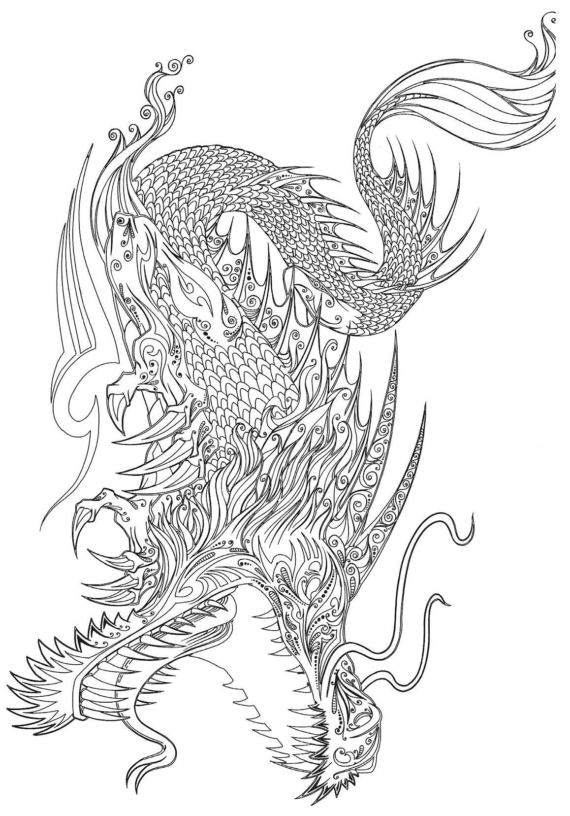 Tatouage Dragon Chinois A Colorier T Pinterest Coloring Pages