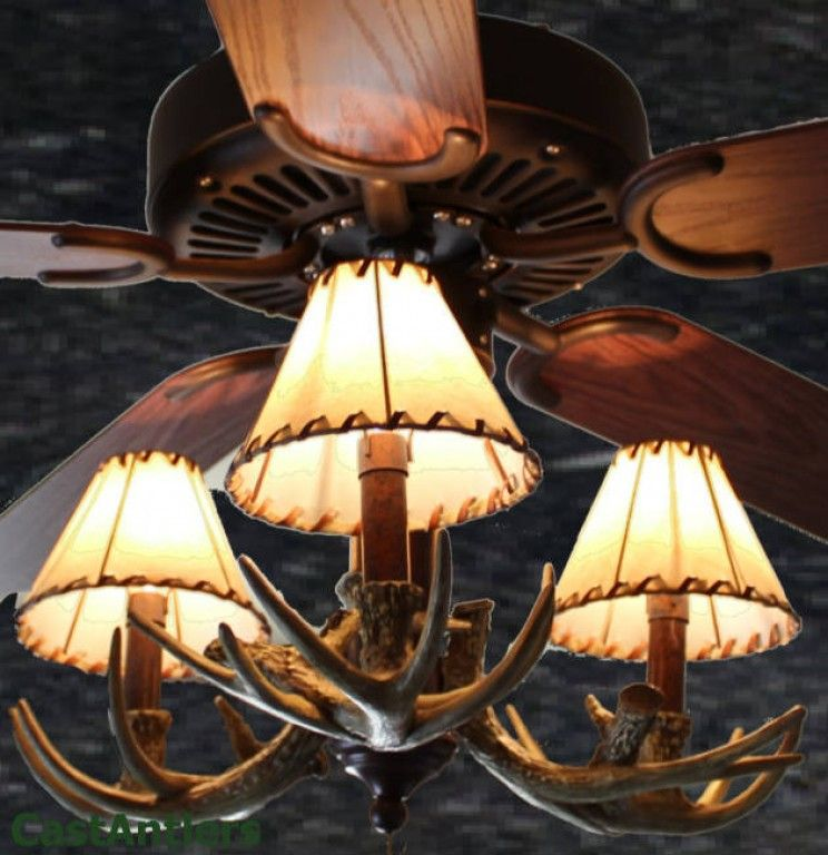 Rustic ceiling fan 52 3 light antler ceiling fan antlers and 52 reproduction 3 light antler ceiling fan aloadofball Image collections