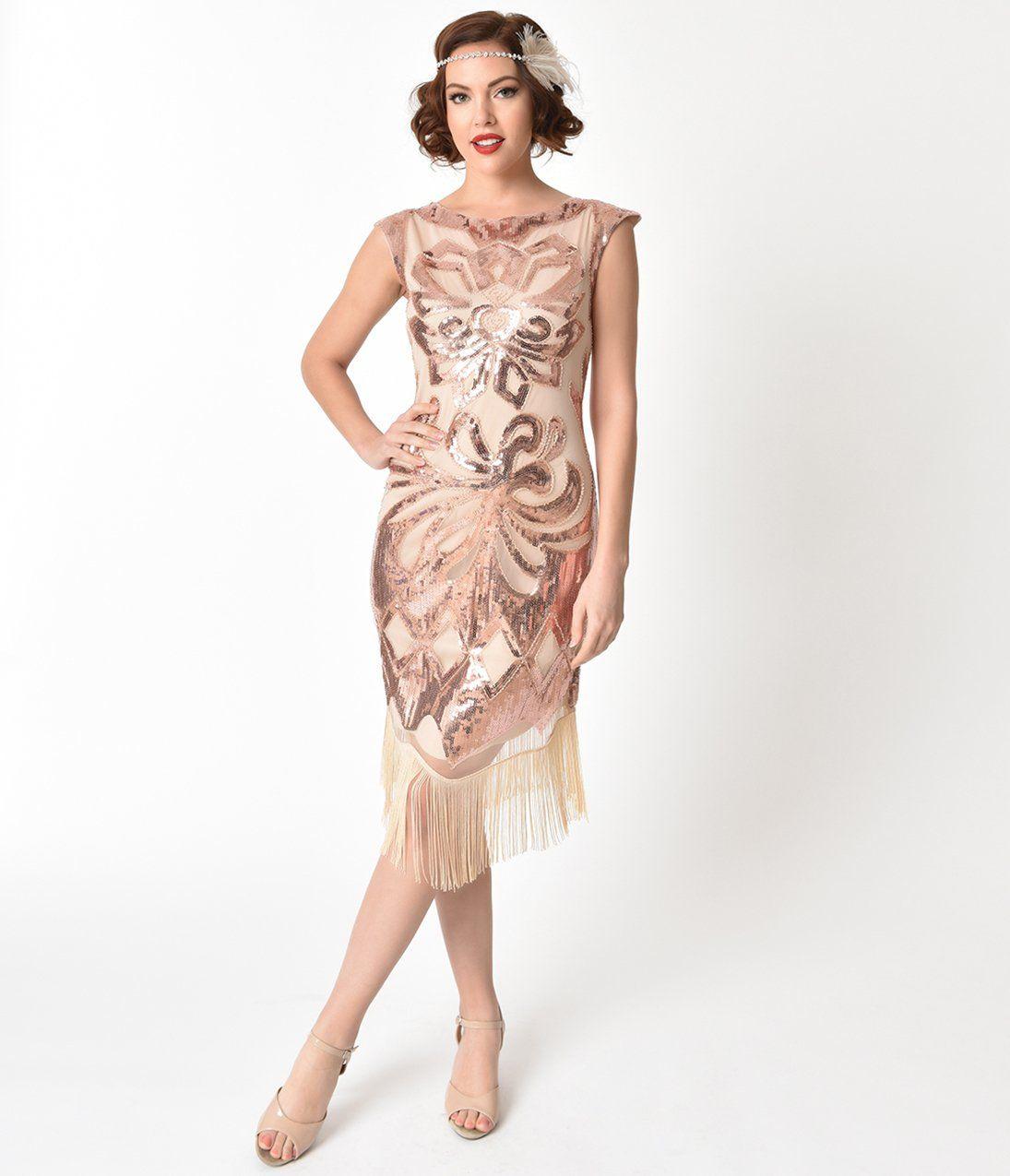 1920s Style Beige & Rose Gold Sequin Edwige Flapper Dress | Gold ...