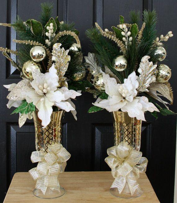 White Gold Poinsettia Christmas Centerpiece Home Christmas Centerpiece Christmas Table Centerpiece Christmas Centerpieces Christmas Floral Arrangements Christmas Table Centerpieces