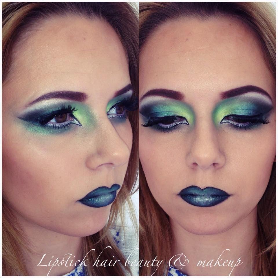 Acid yellow & green eye makeup / eyeshadow dramatic drag ...