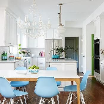 Best Blue Molded Plastic Chairs At White Marble Top Dining 400 x 300