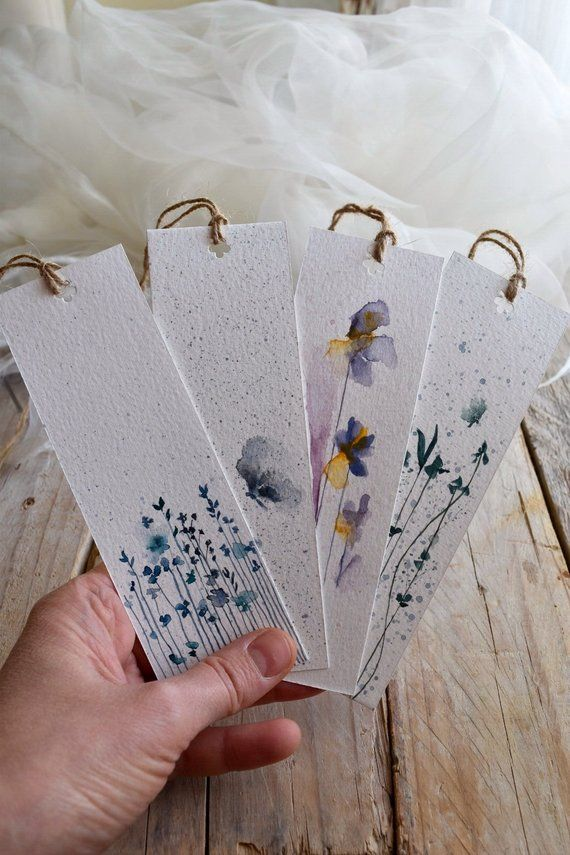 2 bookmarks with flowers, hand-painted watercolor