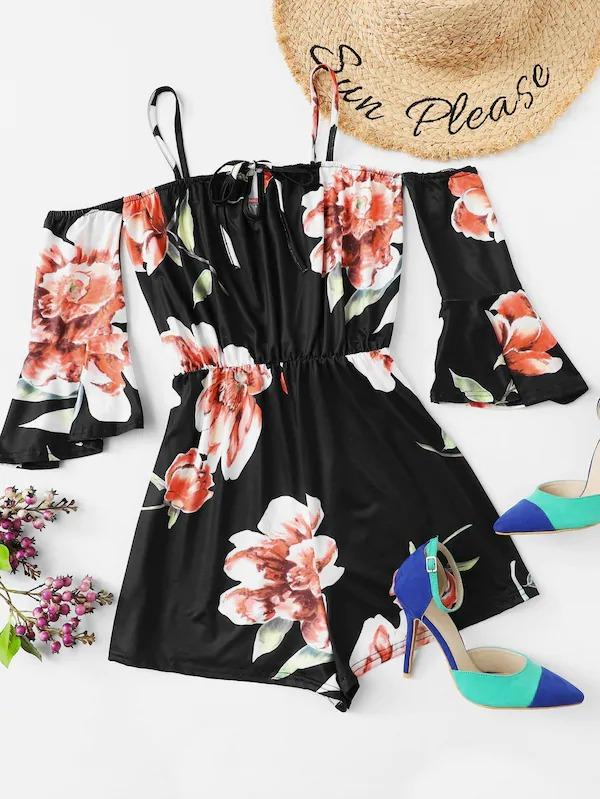 Photo of Floral Print Flounce Sleeve Romper
