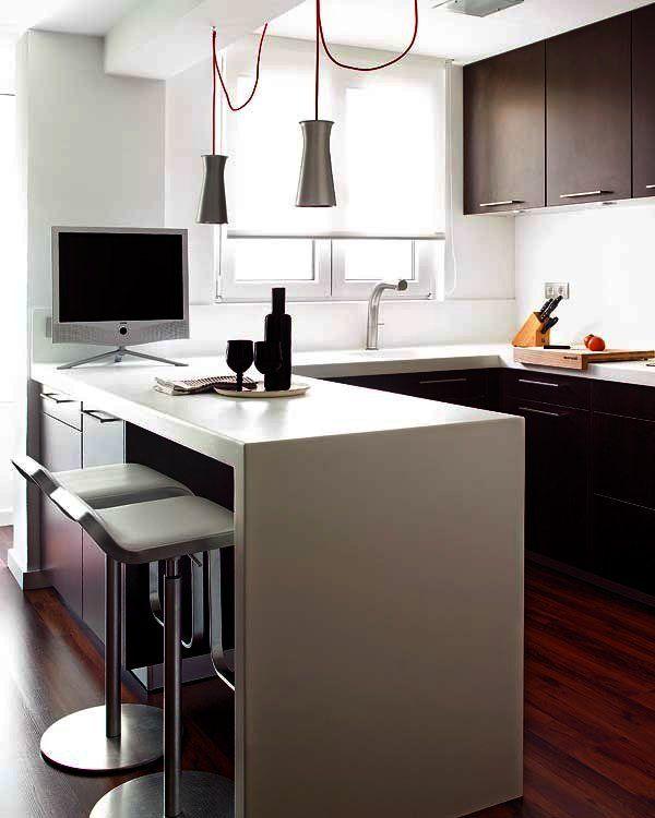 Doce cocinas con barra y sus planos almacenamiento for Barra auxiliar para cocina