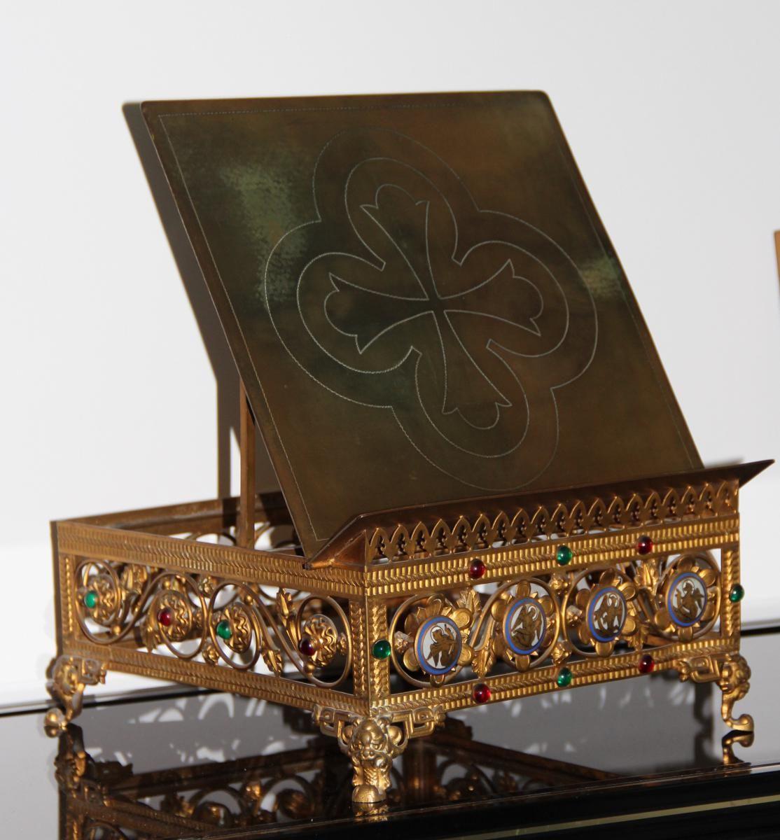 Lutrin Porte Bible d'Eglise Bronze Emaux Epoque XIXeme