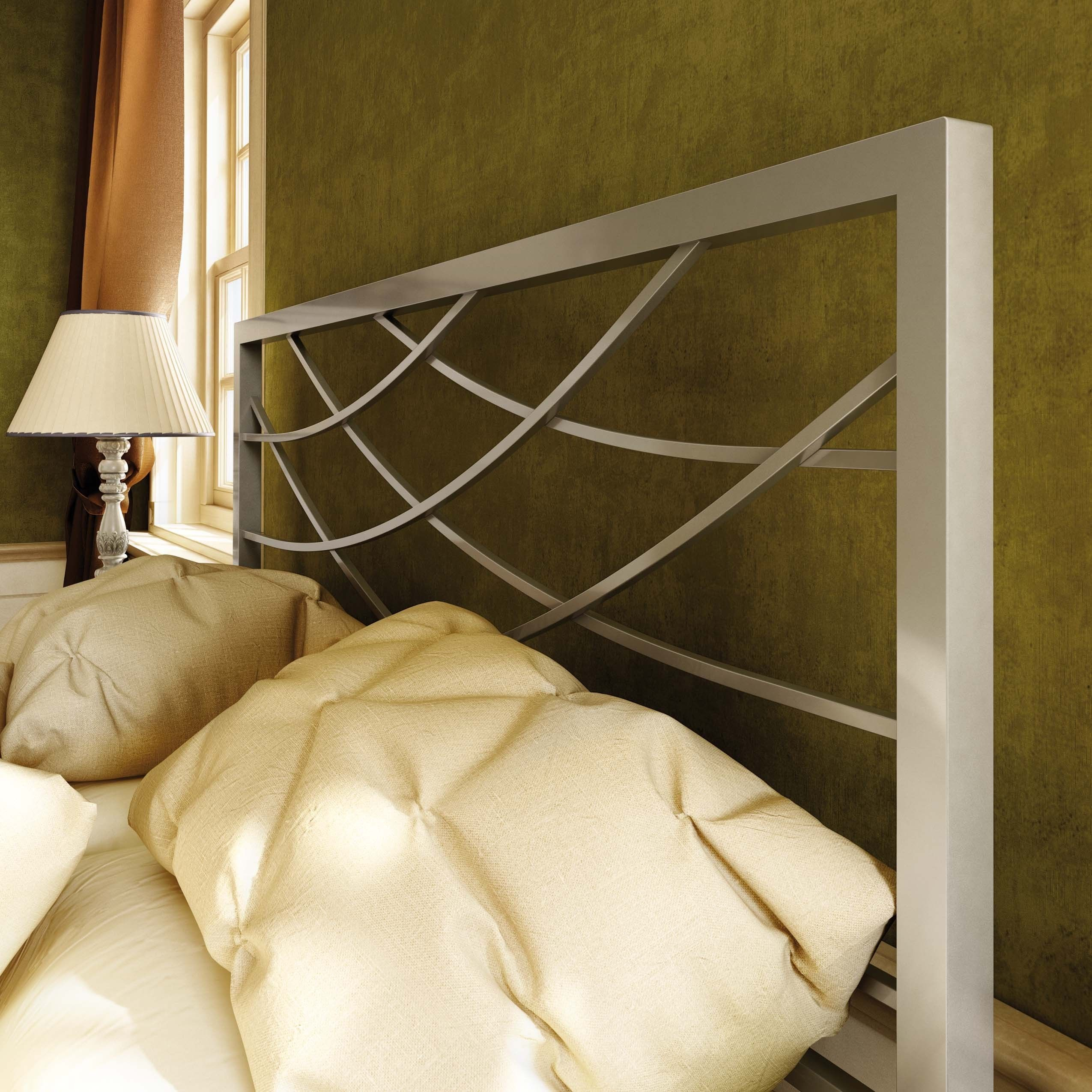 Create a refined and elegant appearance in your home with the Amisco Altess full-size headboard. This 54-inch metal headboard features top-quality solid steel in a design that morphs from motley harlequin to a regal diamond pattern.