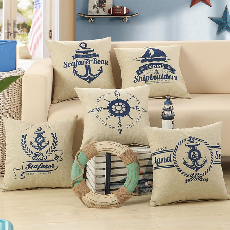 Great 2016 Nautical Printed Decorative Throw Pillow Case Boat Anchor Patio  Cushion Cover For Furniture 45x45cm Home