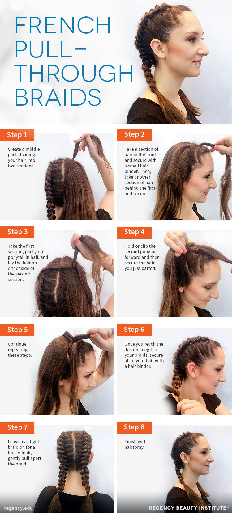 How To Create French Pull Through Braids Regency Beauty Institute Boxer Braids Hairstyles Hair Styles Long Hair Styles