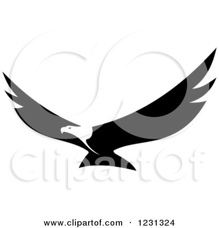 Clipart of a Black and White Flying Bald Eagle - Royalty ...