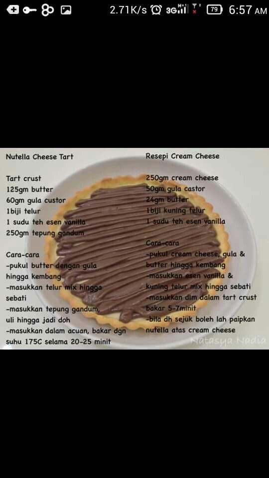 Nutella Cheese Tart Bake Tarts Recipes Baking