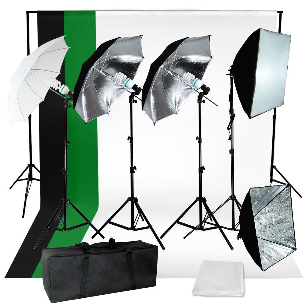 Photography Studio Backdrop 4 Umbrellas Lighting Kit with Background Support Set
