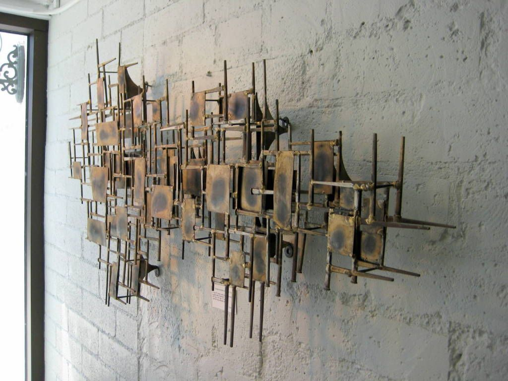 A Brass Mid Century Modern Wall Sculpture Description From