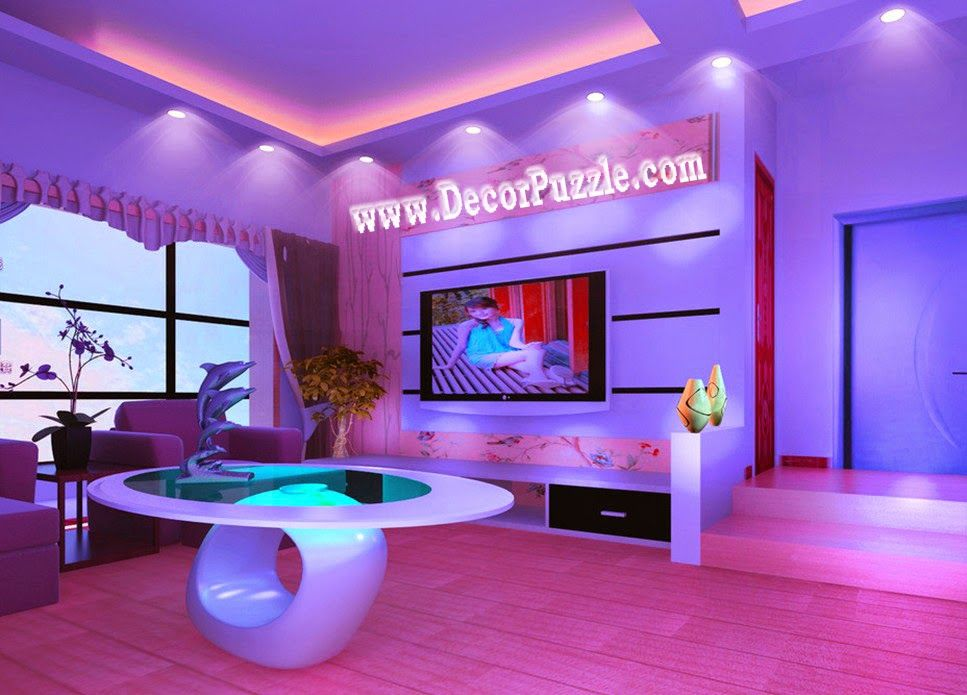 Led Ceiling Lights And Led Spot Lights For False Ceiling In Living Room Pop False Ceiling Design Ceiling Design Purple Wall Decor #spot #light #in #living #room