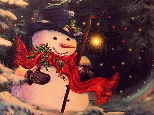 Light Up Snowman Picture Led Christmas Canvas Print Snowmen Wall Hanging With A Black Top Hat And A Red Scarf Winter Scene 2620 Christmas Canvas Hanging Canvas Canvas Wall Art