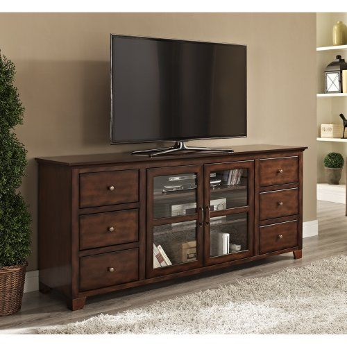 Wood Six Drawer High Boy Tv Console Buffet Rustic Brown Home Accent Furnishings