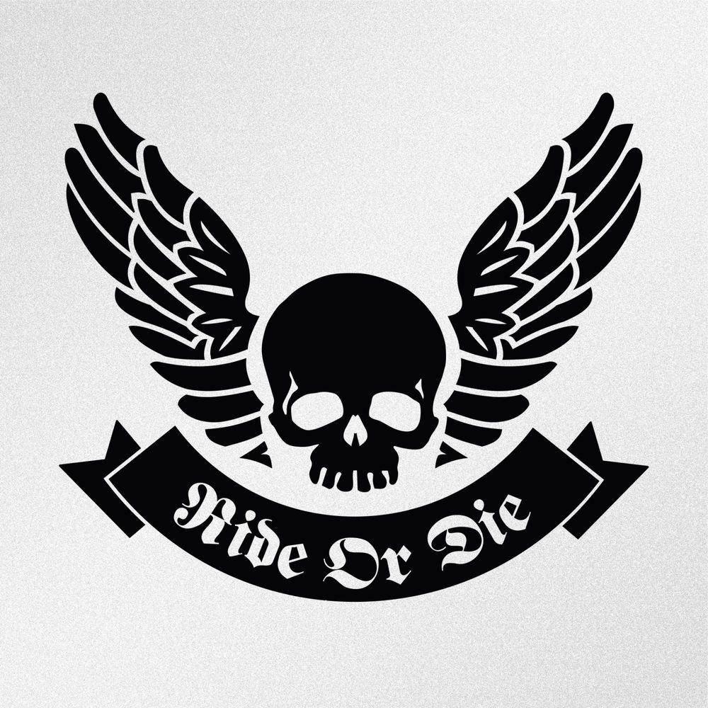 Ride Or Die Skull Wings Ribbon Car Body Window Bumper Vinyl Decal
