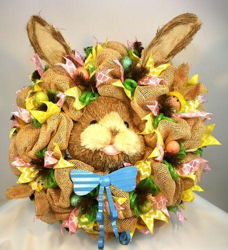 New Burlap Easter Bunny Deco Mesh Door Wreath, $79.00