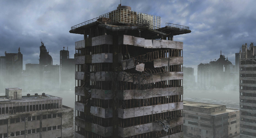 3d Model Of Ruined City Destroyed Buildings Ruined City 3d Model Ruins