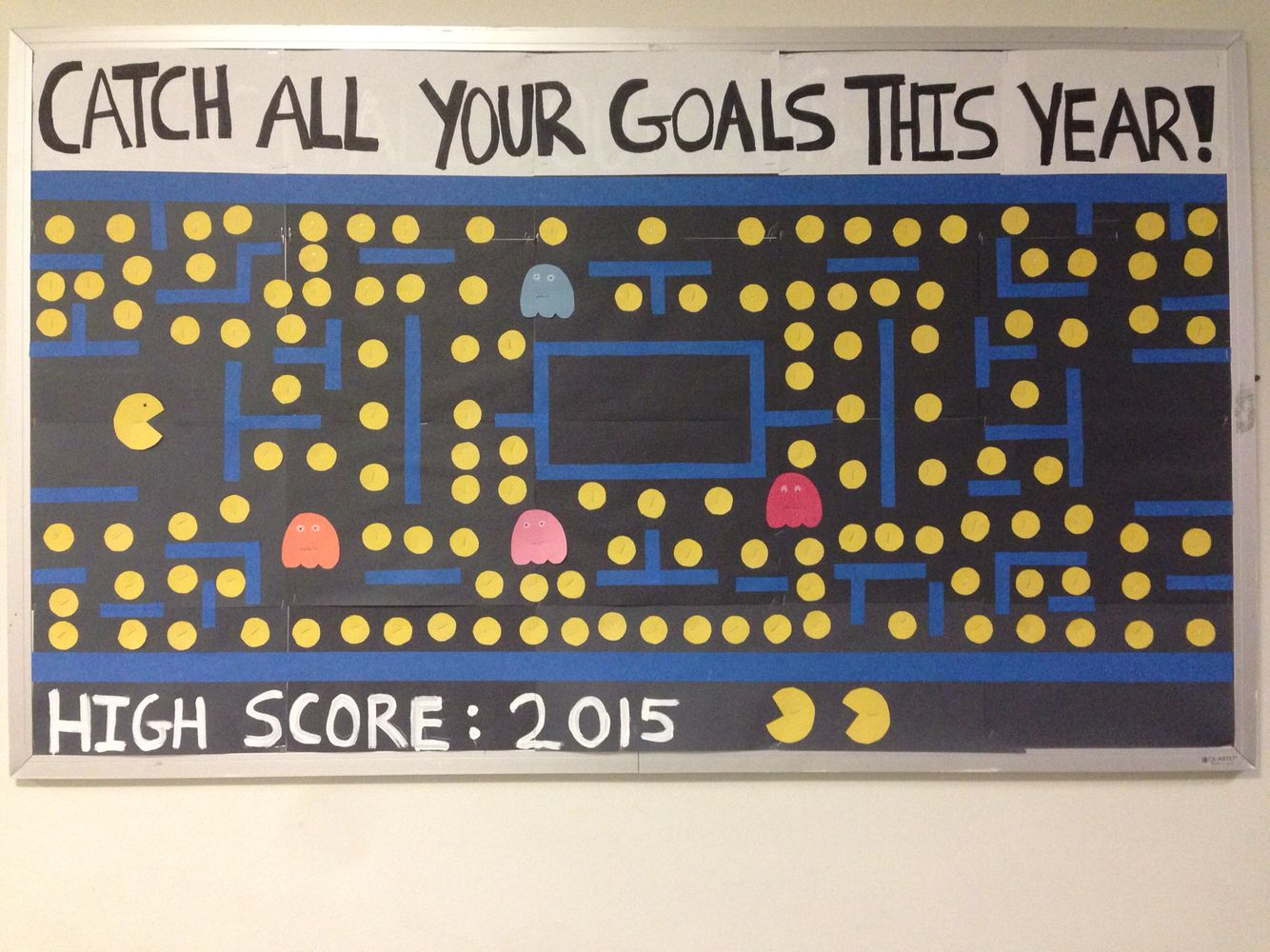 Classroom Goal Setting Ideas ~ Pacman new years goals bulletin board resident assistant