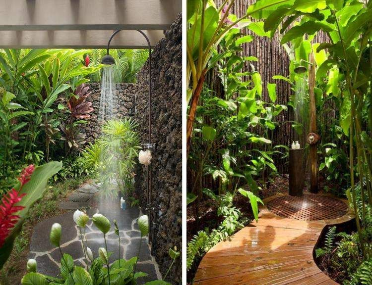 70 id es inspirantes pour le design de la douche de jardin. Black Bedroom Furniture Sets. Home Design Ideas