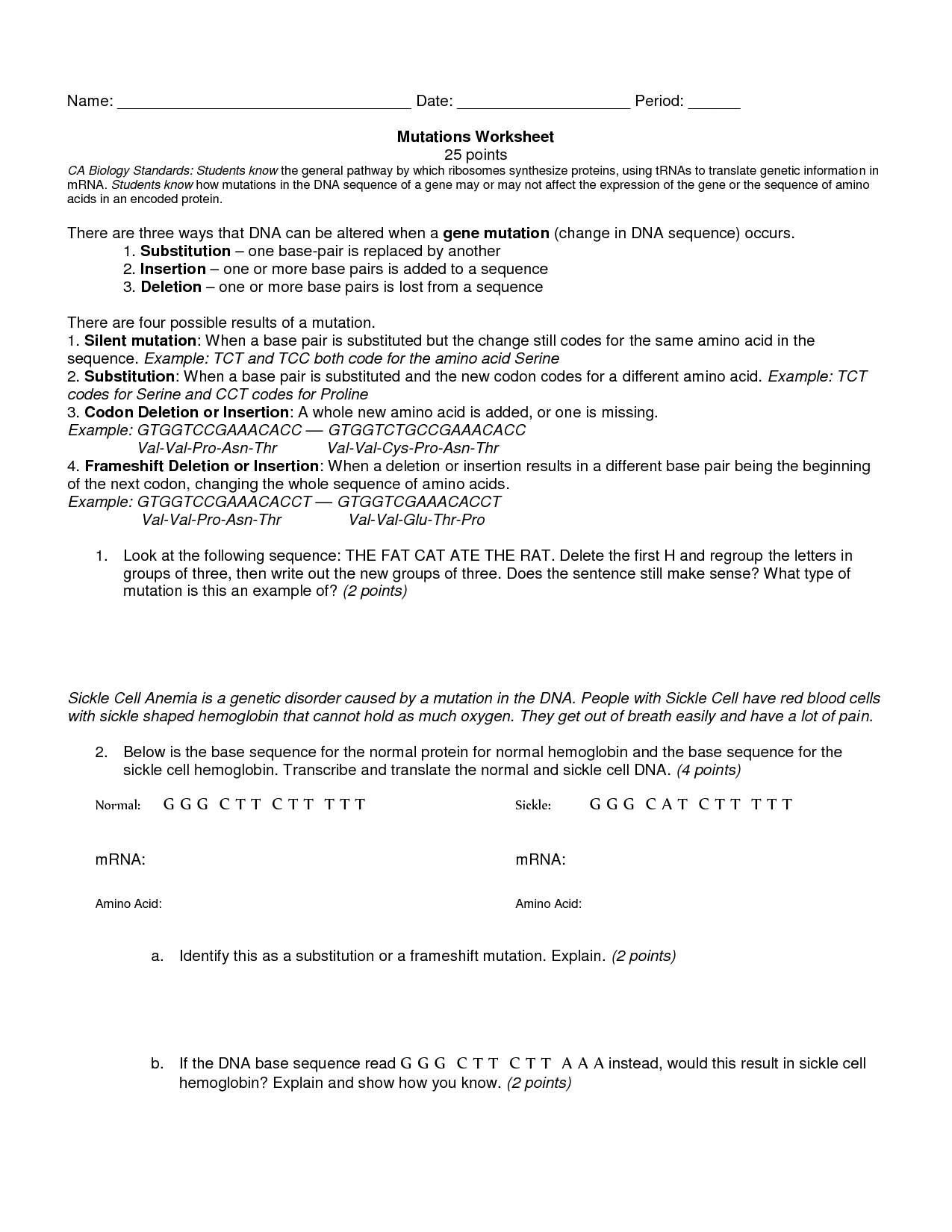 Genetic Mutations Worksheet Answer Key