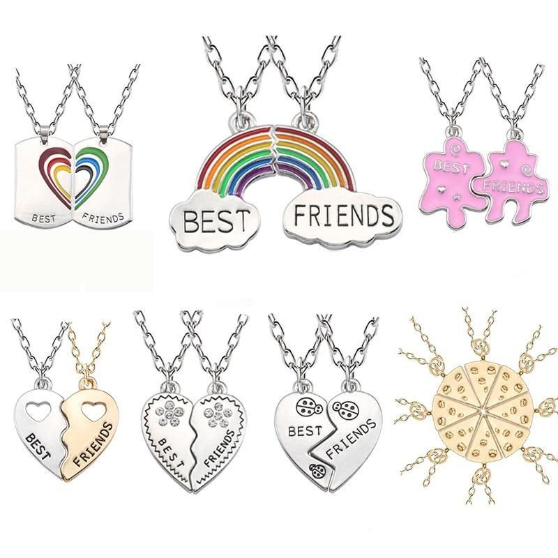 Trendy Best Friends Pendant Necklace Rainbow Broken Heart Necklace For Women Silver Chain Bff Friendship Jewelr Friend Necklaces Friendship Jewelry Bff Jewelry