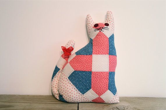 The patchwork cat pillow in pink and blue by kellyemeraldhart, $20.00