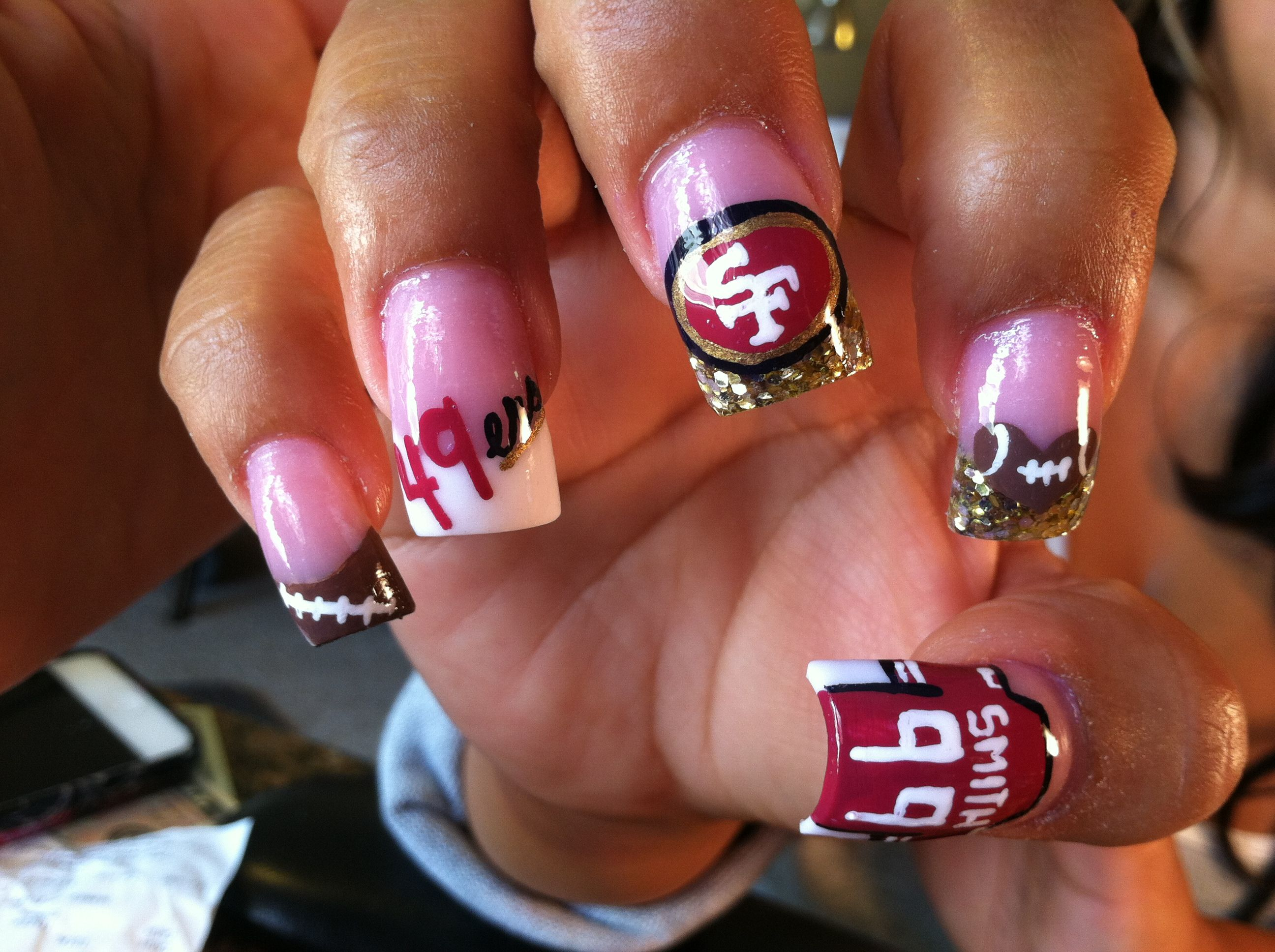 Pin By Shavonne Caster On Why I Love Being A Girl Hair Makeup And Nails Football Nails Sports Nails 49ers Nails