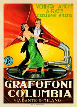 posters couple dancing on record   Grafofoni Columbia, 1920 by Leonetto Cappiello - Vintage Dance Poster