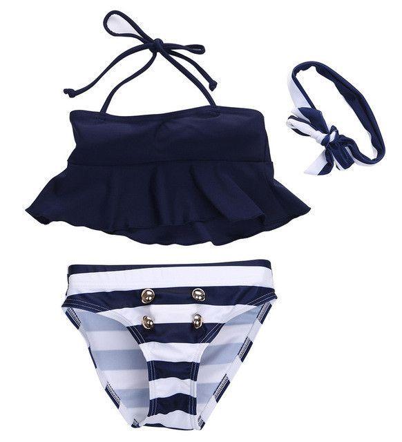 Children Girls Bikini Suit Ruffles Navy Tops Striped Tankini