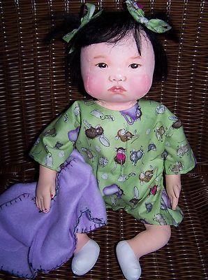 OOAK oil Painted all cloth Asian Baby Cloth Doll SueCS on EBay - ending soon !