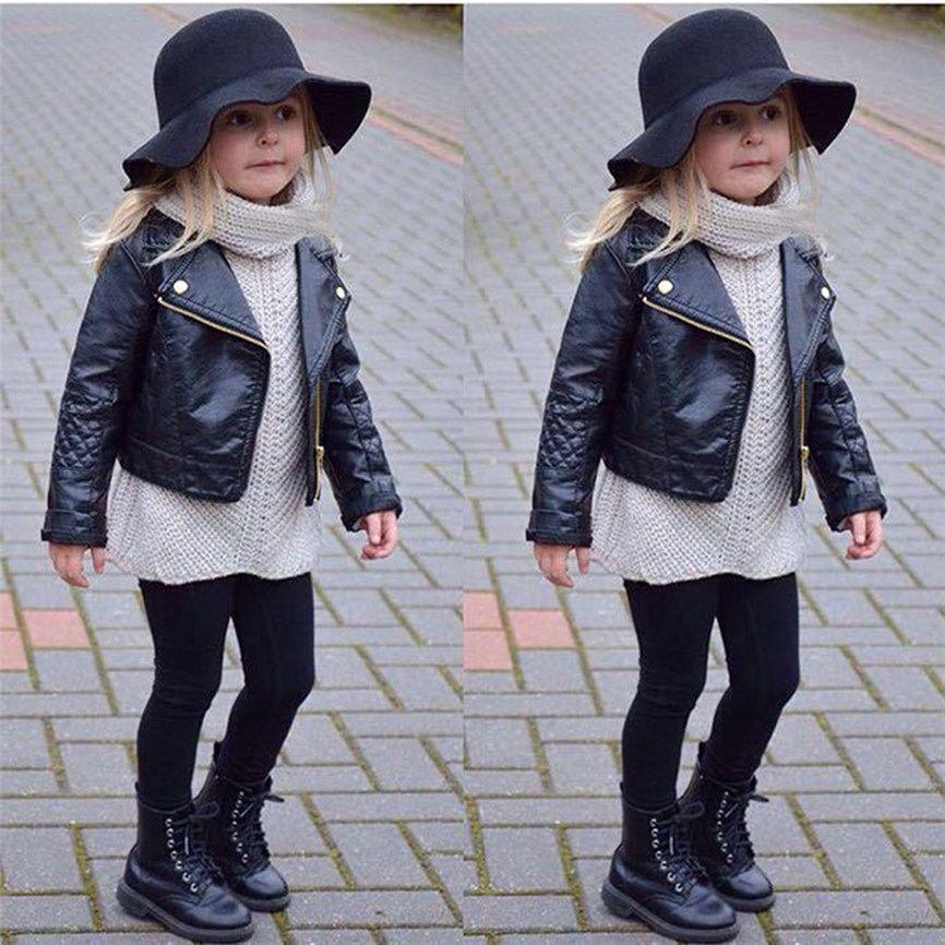 aa4f7b313 Children s Warm Jacket Faux Leather Spring Autumn Girl Boy Kids Baby ...