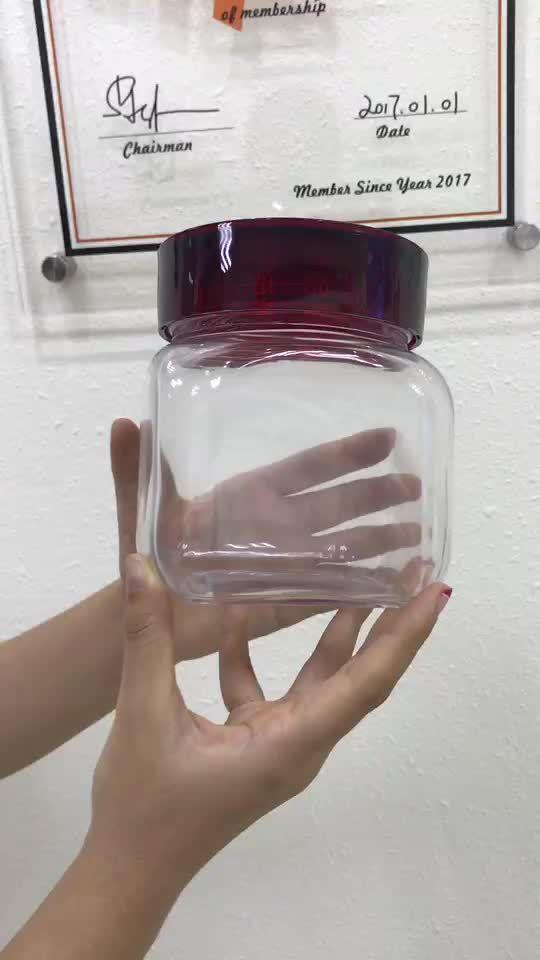 Wholesale 800ml Food Grade Large Twist Off Plastic Cap Square Bottom