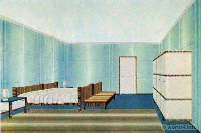 Bedroom design by Wilhelm Dechert. German Art Deco Interior design, architecture, furniture decoration, Neue Sachlichkeit, Bauhaus, New Objectivity