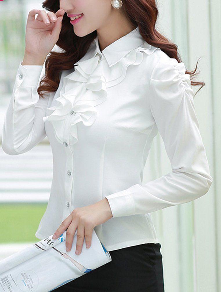 Yasong Women Ladies Long Sleeve Formal Top Work Blouse Frill Ruffle Blouse   Amazon.co 80a242332