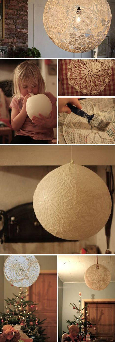 Easy to Make Doily Light: Simple Suspended-Sphere Lace Lamp Shade