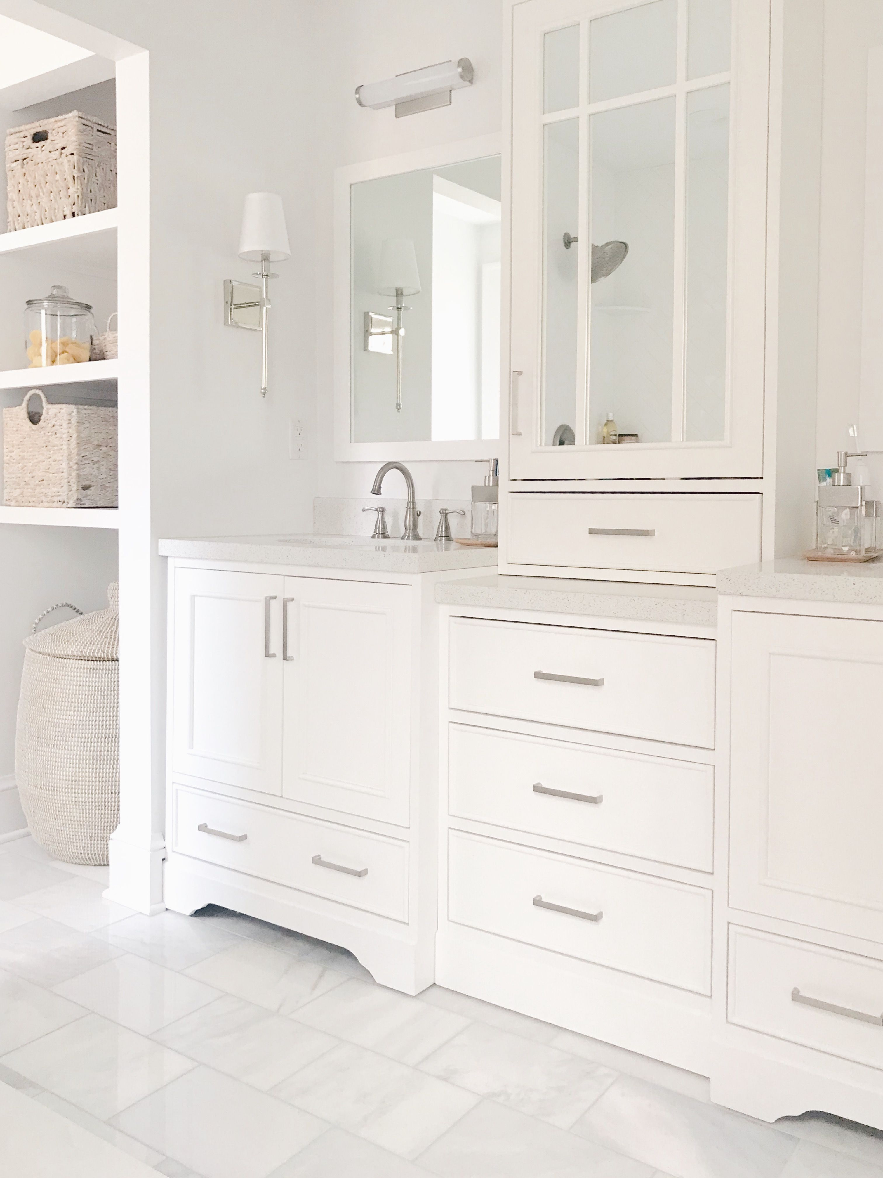White Vanity With Tower Custom Look For Less Custom Bathroom Vanity White Vanity Bathroom Bathroom Vanity Designs