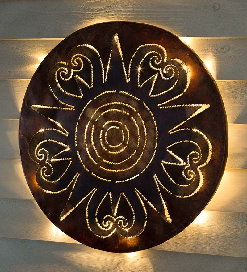 Lighted Sunburst Recycled Oil Drum Lid Wall Art It S A Circle Of